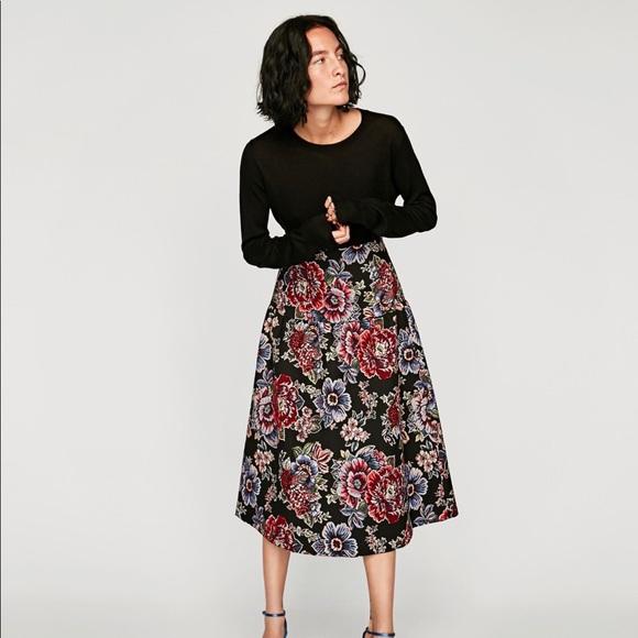 d710bdf3ce Zara Skirts | New Women Jacquard Midi Floral Skirt Size S | Poshmark